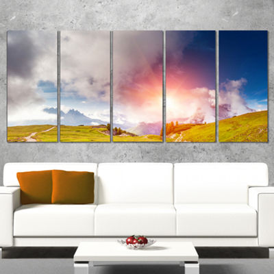 Designart Cadini Di Misurina Range at Sunset Landscape Wrapped Canvas Art Print - 5 Panels