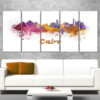 Designart Cairo Skyline Cityscape Canvas ArtworkPrint - 4 Panels