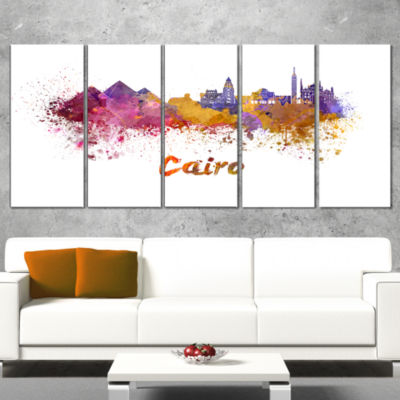 Designart Cairo Skyline Cityscape Canvas ArtworkPrint - 5 Panels