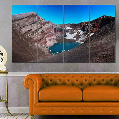 Designart Volcano Kamchatka Panorama Landscape Canvas Wall Art - 4 Panels