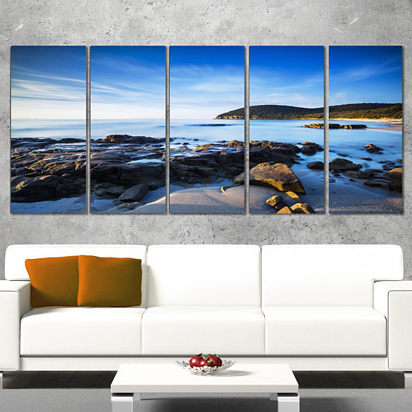 Designart Cala Violina Bay Beach in Maremma ExtraLarge Seashore Canvas Art - 4 Panels