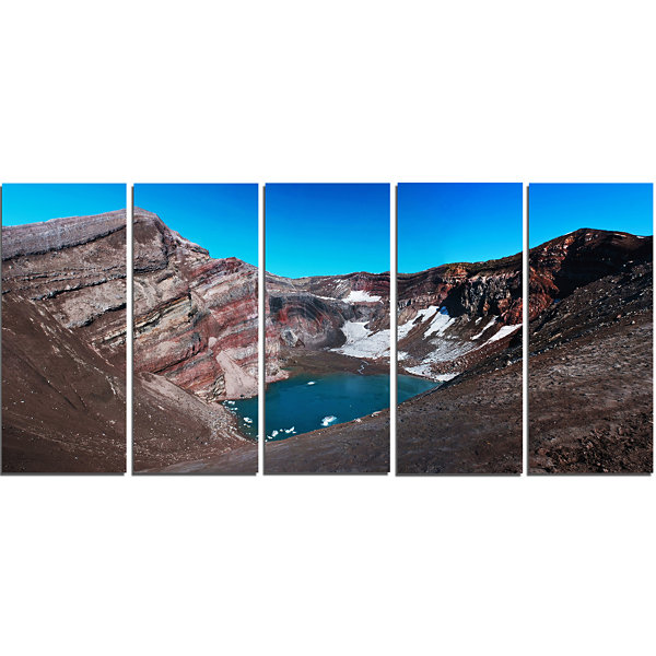 Designart Volcano Kamchatka Panorama Landscape Canvas Wall Art - 5 Panels