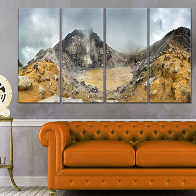 Designart Volcano Panorama with Dramatic Sky Landscape Canvas Art Print - 4 Panels