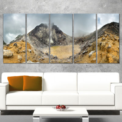 Designart Volcano Panorama with Dramatic Sky Landscape Wrapped Art Print - 5 Panels