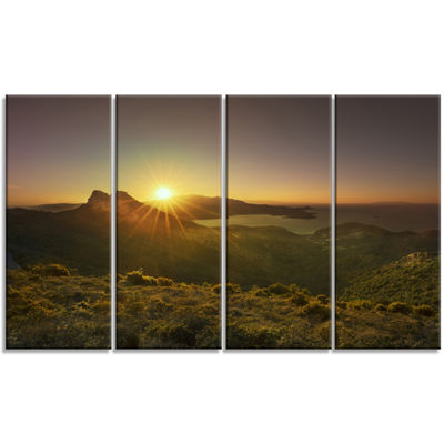 Designart Volterraio and Portoferraio Bay Oversized Landscape Wall Art Print - 4 Panels