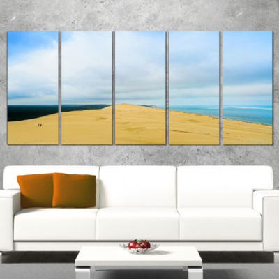 Designart Cala Violina Bay Beach Tuscany OversizedLandscapeWall Art Print - 4 Panels