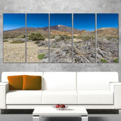 Designart Caldera of The Volcano Teide Contemporary Landscape Wrapped Canvas Art - 5 Panels