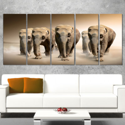 Designart Walking Herd of Elephants Animal CanvasWall Art -5 Panels