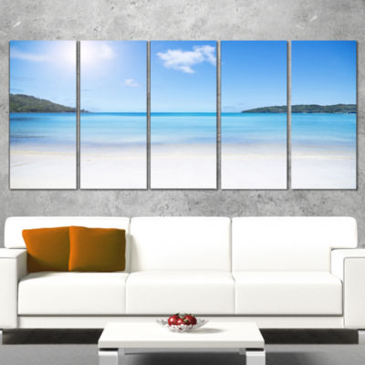 Designart Calm Beach of Azure Indian Ocean Seashore Wrapped Canvas Art Print - 5 Panels