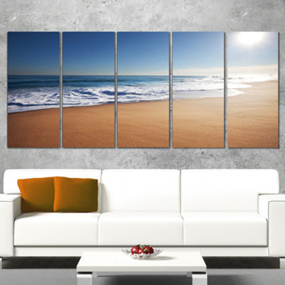 Designart Calm Blue Beach Under Bright Sun Seascape Canvas Art Print - 5 Panels