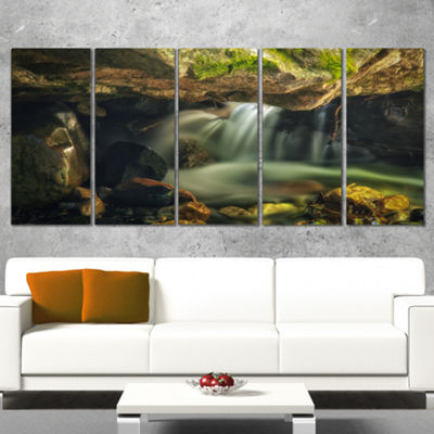 Designart Wasatch National Forest Waterfall Landscape Wrapped Art Print - 5 Panels