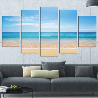 Designart Calm Blue Sea and Sky Seashore Photography Wrapped Canvas Print - 5 Panels
