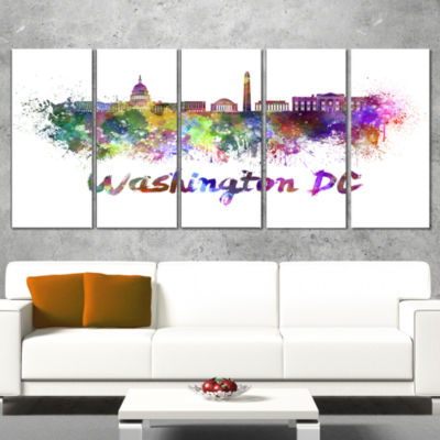 Designart Washington Dc Skyline Cityscape Canvas Artwork Print - 4 Panels