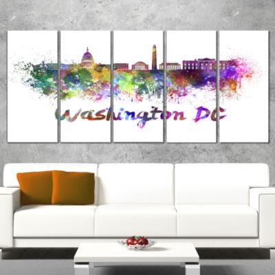 Designart Washington Dc Skyline Cityscape Canvas Artwork Print - 5 Panels