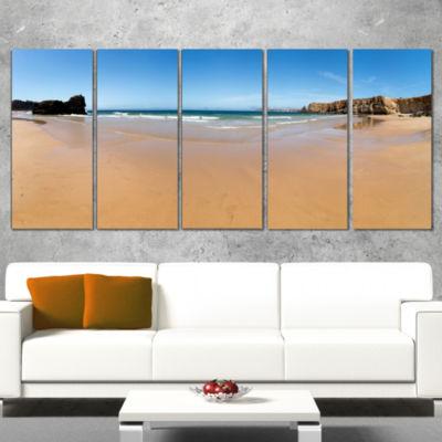 Designart Calm Sandy Coastline Panorama OversizedBeach Canvas Artwork - 4 Panels