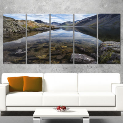 Designart Wast Water with Reflection in Lake Landscape Artwork Canvas - 5 Panels