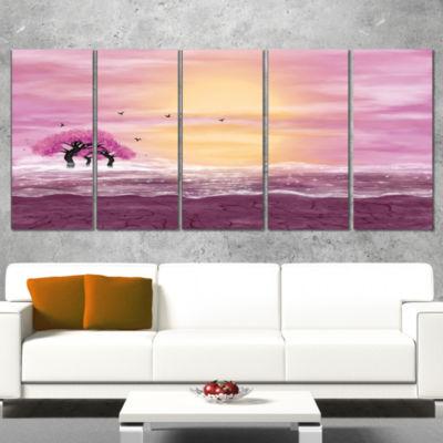 Designart Water and Pink Trees in Desert LandscapeCanvas Art Print - 5 Panels