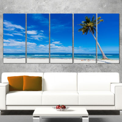 Designart Calm Summer Vacation Beach PhilippinesModern Seascape Canvas Artwork - 4 Panels