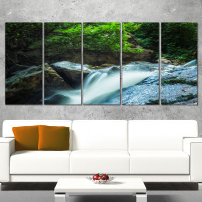 Designart Water Slide Over the Moss Landscape Wrapped Art Print - 5 Panels
