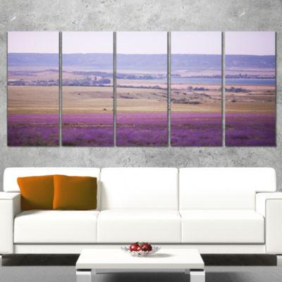 Designart Calm Sunset Over Lavender Field FloralCanvas Art Print - 5 Panels