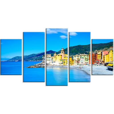 Designart Camogli Church On Sea and Beach View Extra Large Seashore Wrapped Canvas Art - 5 Panels