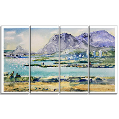 Designart Watercolor Blue Hills Landscape Art Print Canvas -4 Panels