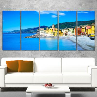 Designart Camogli Church On Sea and Beach View Extra Large Seashore Canvas Art - 5 Panels