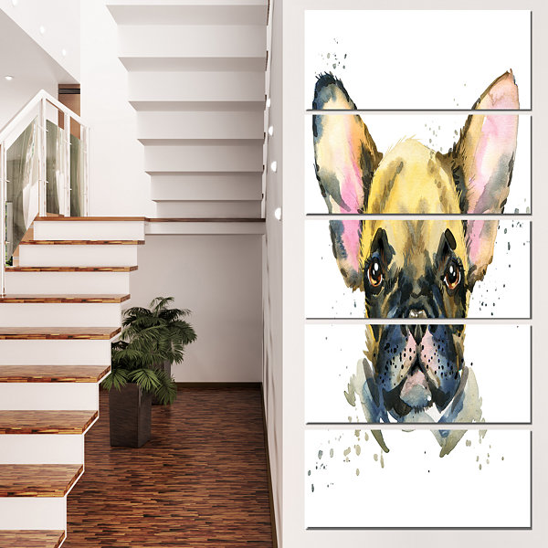 Designart Watercolor Brown Dog Illustration Contemporary Animal Art Canvas - 4 Panels