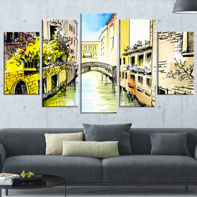 Designart Canal in Venice Cityscape Canvas Artwork- 4 Panels