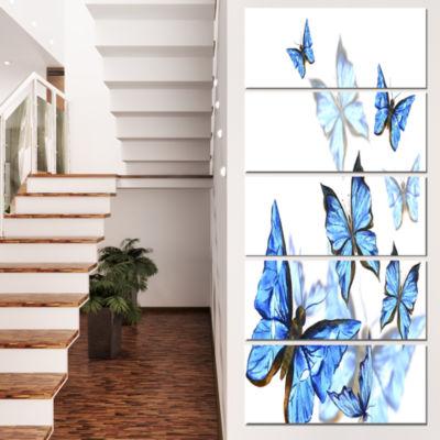Designart Watercolor Butterflies on White Floral Canvas ArtPrint - 4 Panels