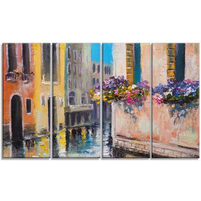 Designart Canal in Venice with Flowers CityscapeCanvas Art Print - 4 Panels