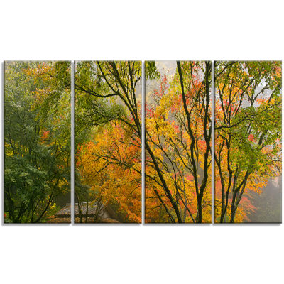 Designart Canopy of Maple Trees in Fall Floral Photo CanvasPrint - 4 Panels