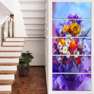 Designart Watercolor Flowers in Purple Vase LargeFloral Canvas Artwork - 4 Panels