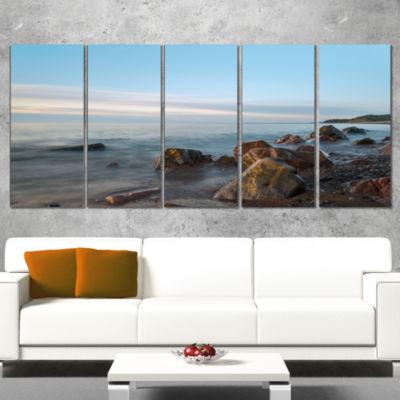 Designart Cape Breton Beach Nova Scotia Canada Modern Seascape Canvas Artwork - 4 Panels
