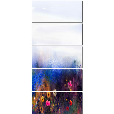Designart Watercolor Painting Flower in Meadow Floral CanvasArt Print - 5 Panels