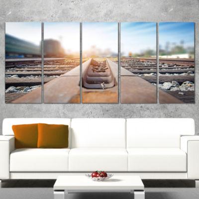 Designart Cargo Train Platform with Container Landscape Photography Canvas Print - 5 Panels