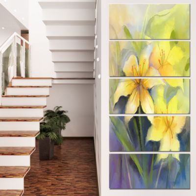 Designart Watercolor Painting Yellow Lily Flower Large Floral Canvas Artwork - 5 Panels
