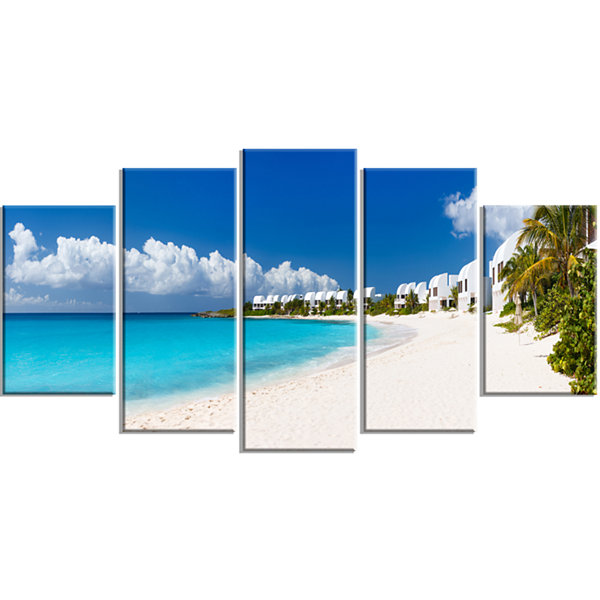 Designart Caribbean Beach Panorama Landscape PhotoWrapped Canvas Art Print - 5 Panels