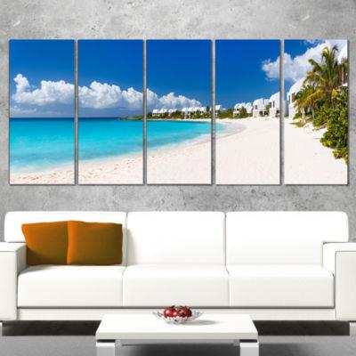 Designart Caribbean Beach Panorama Landscape PhotoCanvas Art Print - 5 Panels