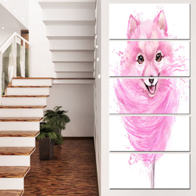 Designart Watercolor Pink Dog Illustration Contemporary Animal Art Canvas - 5 Panels