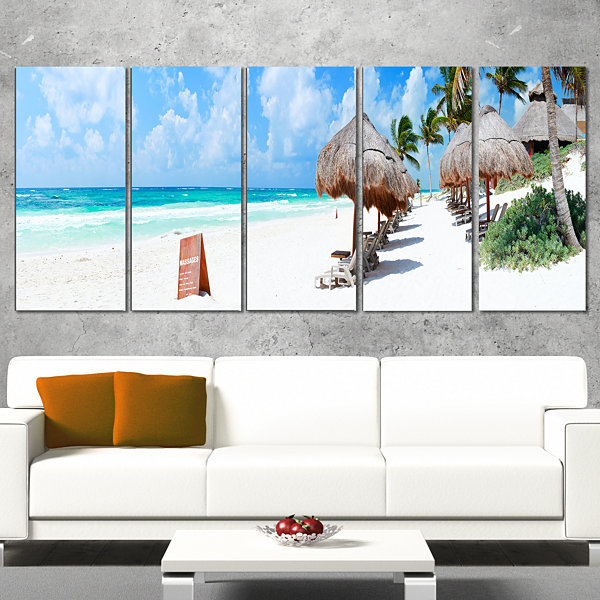 Designart Caribbean Coast in Tulum Mexico ModernSeascape Wrapped Canvas Artwork - 5 Panels
