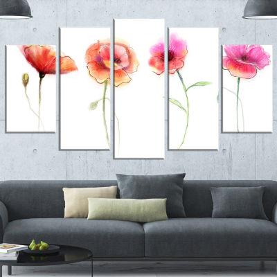 Designart Watercolor Poppy Flowers Sketch Flower Artwork onCanvas - 5 Panels