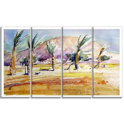 Designart Watercolor Sea and Palm Landscape Art Print Canvas- 4 Panels