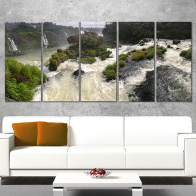 Designart Waterfall Iguacu Falls in Brazil Landscape WrappedArt Print - 5 Panels