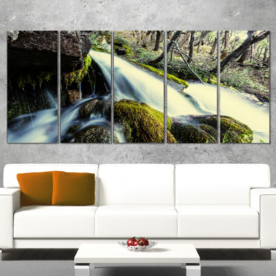 Designart Waterfall in Forest on Rocks Seashore Wrapped ArtPrint - 5 Panels