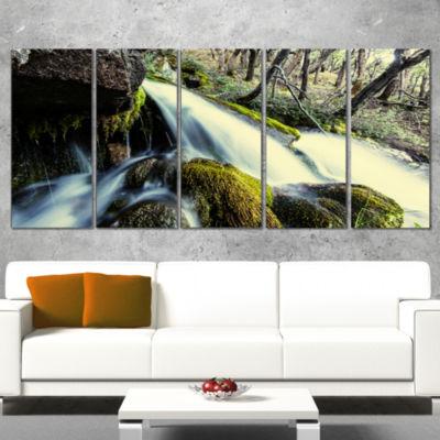 Designart Waterfall in Forest on Rocks Seashore Canvas Art Print - 5 Panels