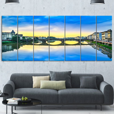 Designart Carraia Medieval Bridge On Arno River Beach PhotoCanvas Print 6 Panels