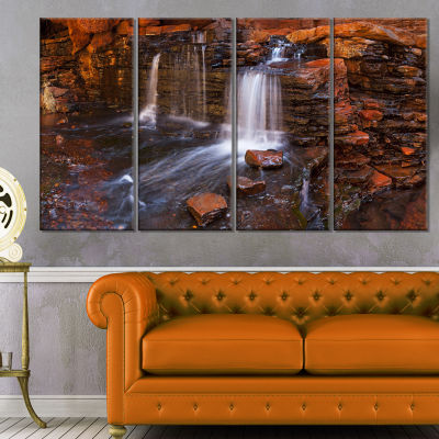 Designart Waterfall in Hancock Gorge Landscape Canvas Art Print - 4 Panels