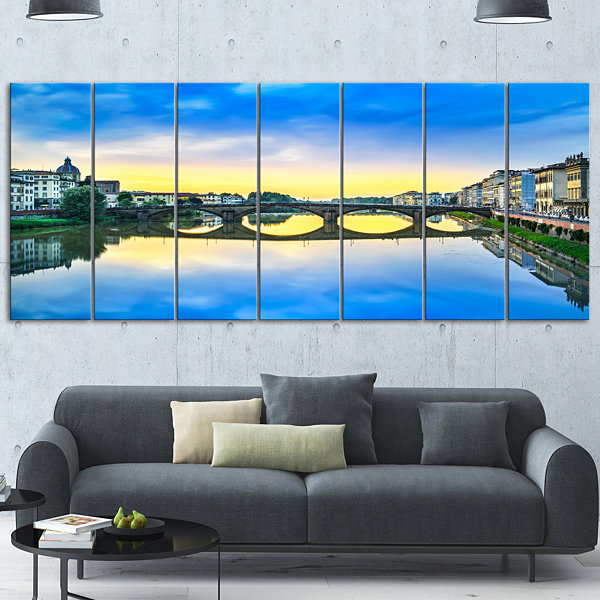 Designart Carraia Medieval Bridge On Arno River Beach PhotoCanvas Print 7 Panels