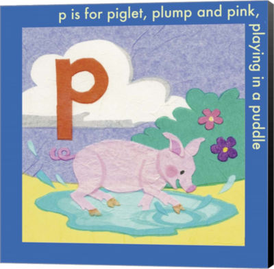 Metaverse Art P is For Piglet Canvas Wall Art